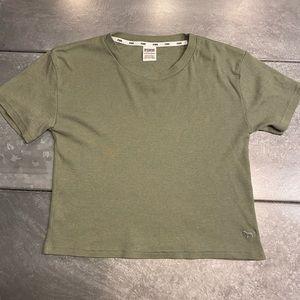 Ribbed army green PINK t-shirt
